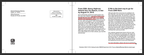 IRS Post Card about Form 2290 Due Date