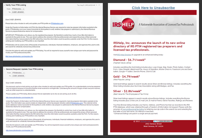 Three Examples of PTIN Registry Emails