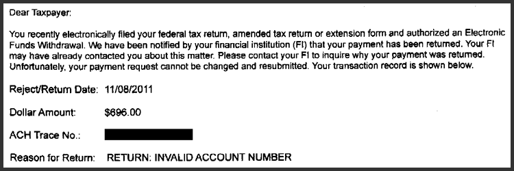 IRS 2290 Notice Decoder - Bank Payment Error - Read the Notice