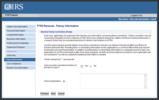 IRS PTIN has a Felony Question