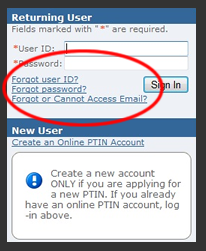 IRS PTIN Forgotten Password