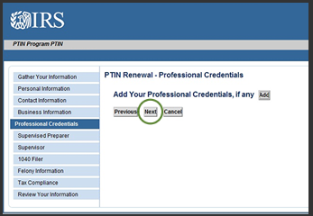 IRS PTIN Professional Credentials