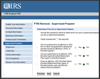 IRS PTIN Supervised Preparers