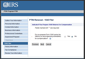 IRS PTIN 1040 Filer Question