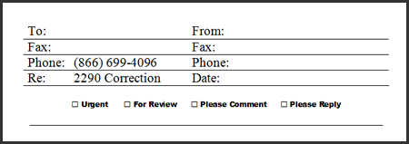 Form 2290 - Fax Coversheet Example