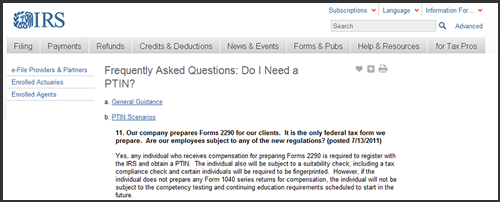 Paid Preparers of Form 2290 are Required to get an IRS PTIN